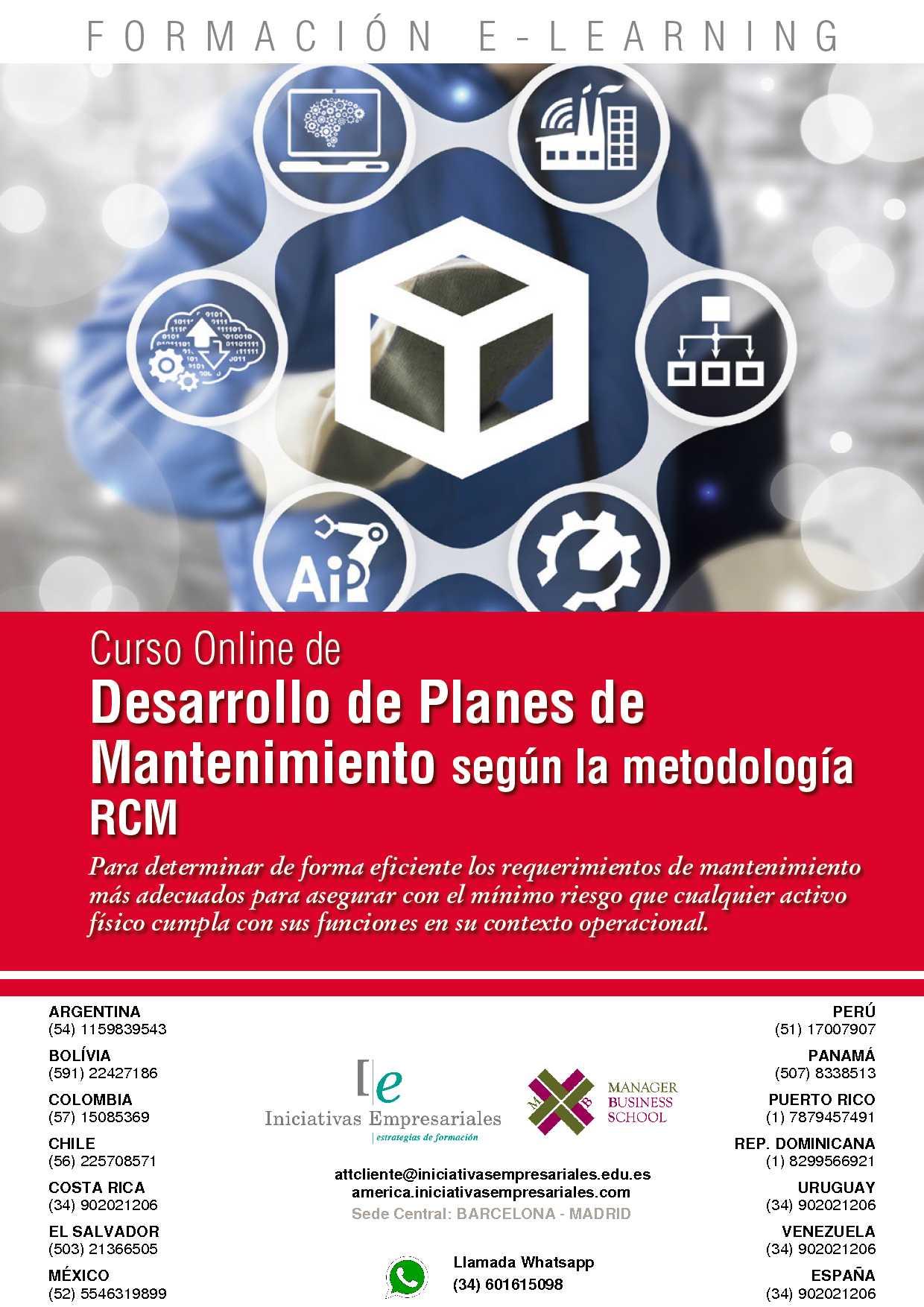 Curso Desarrollo De Planes De Mantenimiento Según La Metodología Rcm